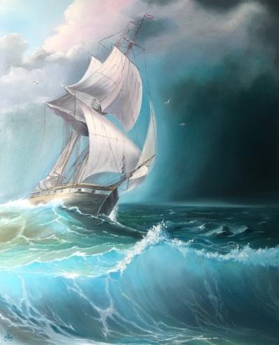 Картина маслом морской пейзаж «Корабль» купить живопись для современных интерьеров Украина