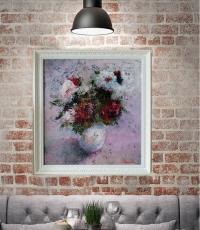 Картина маслом абстракция цветы РОЗЫ 2«Сладкий розы аромат» живопись современных украинских художников