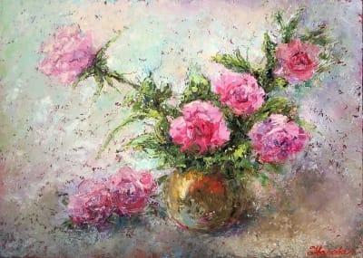 Абстрактные картины маслом цветы розы для современного интерьера «Розы - так нежен каждый лепесток»