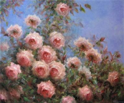 Картина цветы «Розы моего сада» купить живопись для современных интерьеров Украина