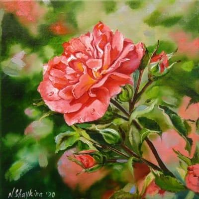 Картина цветы «Роза» купить живопись для современных интерьеров Украина