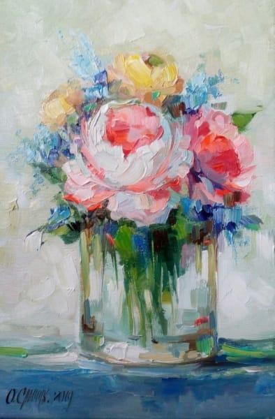 Картина цветы «Розочки» купить живопись для современных интерьеров Украина