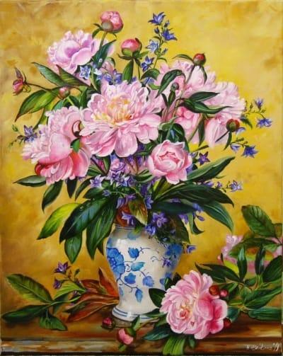 Картина цветы «Розовые пионы в китайской вазе» - купить живопись для современных интерьеров Украина