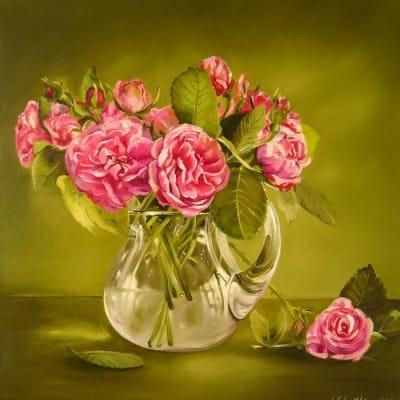 Картина цветы «Розовые розы» купить живопись для современных интерьеров Украина