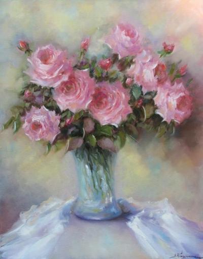 Картина живопись с цветами «Розовый аромат» купить живопись для современных интерьеров Украина