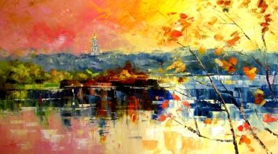 Картина маслом киевский пейзаж «Розовый вечер» купить живопись для современных интерьеров Украина