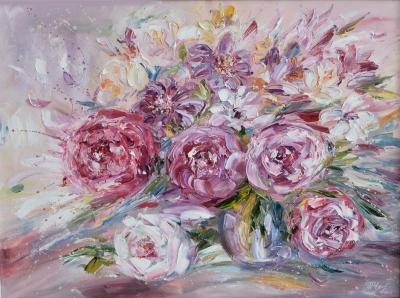 Картина маслом цветы «Розовое настроение» купить живопись пейзаж Украина