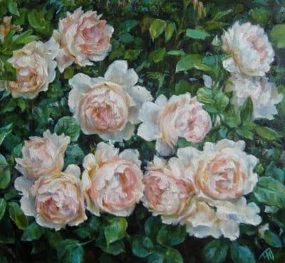 Картина цветы «Розы» купить живопись для современных интерьеров Киев