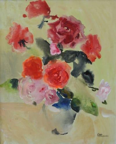 Картина акрил цветы «Розы» купить живопись для современных интерьеров Украина
