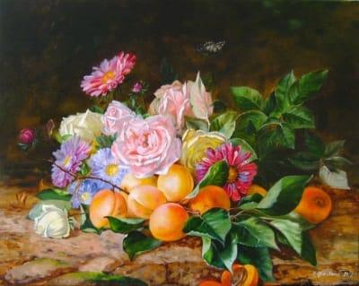 Картина «Розы, астры, абрикосы» - купить живопись для современных интерьеров Украина