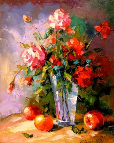 Картина «Розы и фрукты»