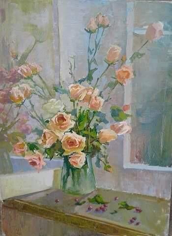 Картина «Розы на окне»
