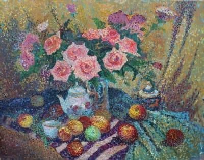 Картина «Розы с яблоками»