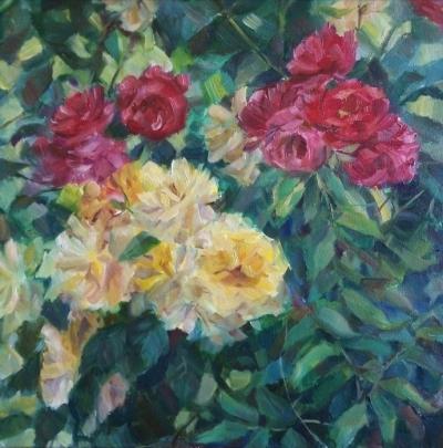 Картина маслом цветы «Розы в саду» купить современную живопись Украина