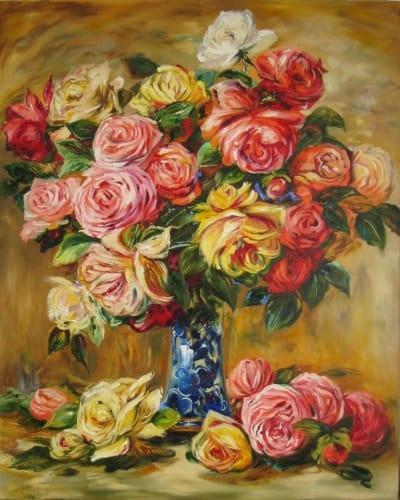 Картина «Розы в синей вазе» копия Ренуара