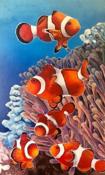 Картина акрил анималистика «Рыбки» купить живопись для современных интерьеров Киев