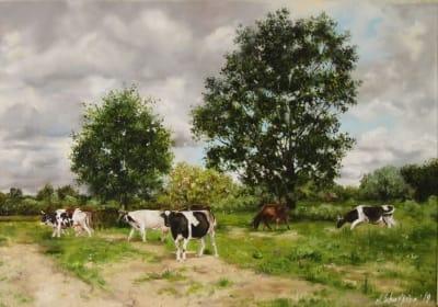 Картина пейзаж «С выпаса» купить живопись для современных интерьеров Украина