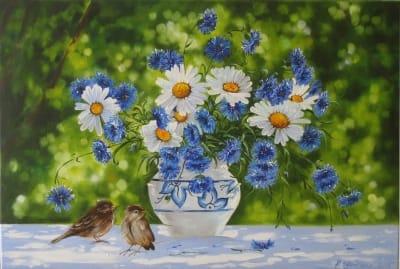 Картина натюрморт «Садовые воробьи» купить живопись для современных интерьеров Украина