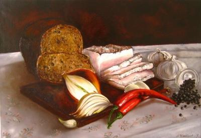 Картина «Сало с хлебом» - купить живопись для современных интерьеров Украина