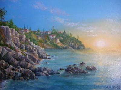 Картина маслом морской пейзаж «Болгария. Сазополь. Утро» - живопись для современных интерьеров