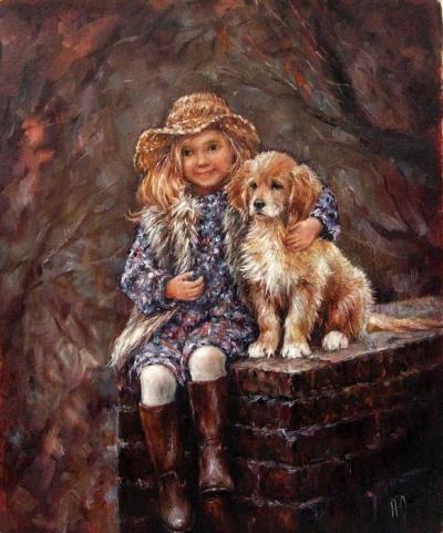 Картина анималистика детям «Счастье есть» купить живопись для современных интерьеров Украина