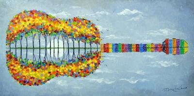 Абстрактная картина «Счастливая гитара» купить живопись для современных интерьеров Украина