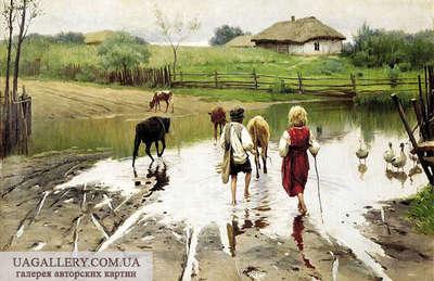 Картина сельский пейзаж Деревня Копия Пимоменко