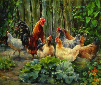 Картина пейзаж «Сельская жизнь» купить живопись для современных интерьеров Киев