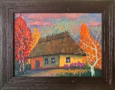 Картина «Сельский домик» купить живопись для современных интерьеров Украина - пейзаж сельский