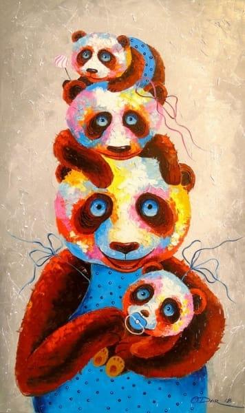 Картина маслом «Семья панд» картины для современных интерьеров Украина