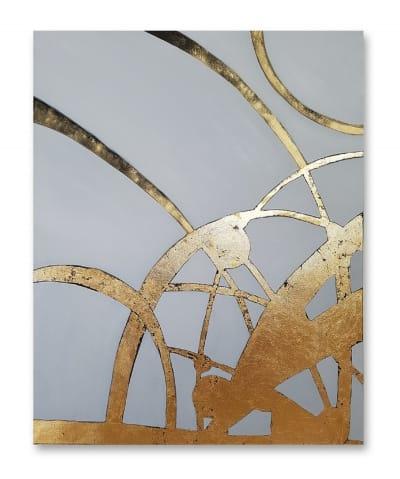 Картина маслом абстракция Киев «Золотое время» в интерьере 2
