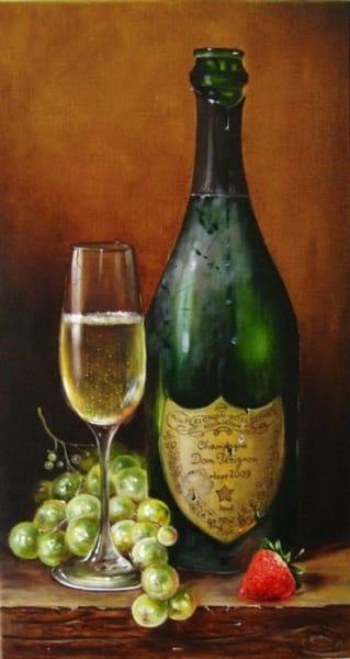 Картина «Шампанское и клубника» - купить живопись для современных интерьеров Украина