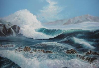 Картина маслом морской пейзаж «Волна. среди рифов» - купить живопись для современных интерьеров