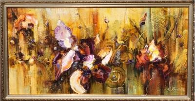 Картина маслом цветы абстракция «Симфония цветов» живопись для современных интерьеров