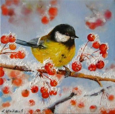 Картина «Синичка» - купить живопись для современных интерьеров Украина