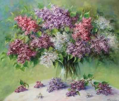 Картина живопись с цветами «Сирень» купить живопись для современных интерьеров Украина Киев