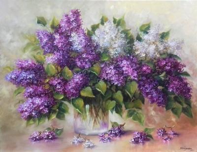 Картина с цветами «Сирень» купить живопись для современных интерьеров Украина