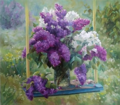 Картина цветы «Сирень» купить живопись для современных интерьеров Украина Киев