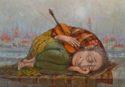 Картина маслом «Скрипач» купить живопись для современных интерьеров Украина