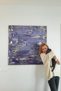 Картина абстракция для современных интерьеров «Sky» купить живопись Киев