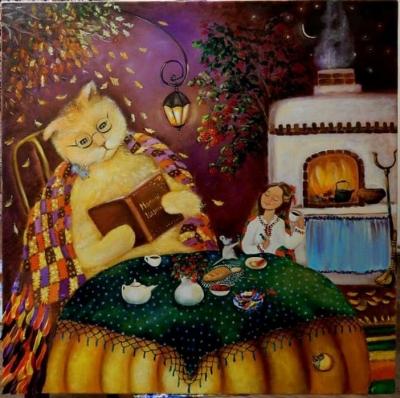 Картина маслом «Сладкий ужин» купить живопись для современных интерьеров Украина