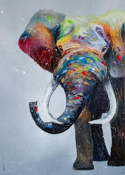 Картина маслом анималистика детям «Слон» купить живопись для современных интерьеров Украина