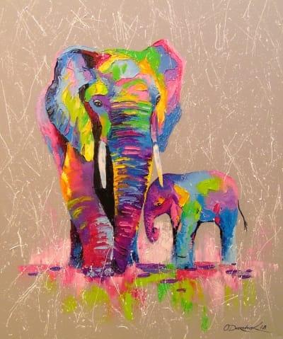 Картина «Слоны - мать и сын»