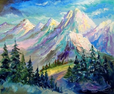 Картина маслом зимний пейзаж «Снежные горы» купить живопись для современных интерьеров Украина