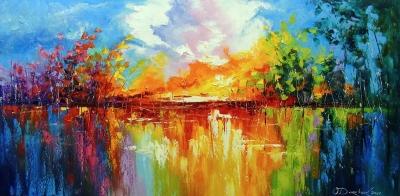 Абстрактная картина «Сны на закате солнца» купить живопись для современных интерьеров Украина
