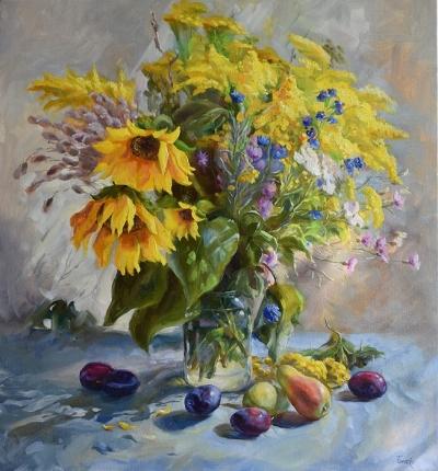 Картина цветы «Солнце в цветах» купить живопись для современных интерьеров Украина