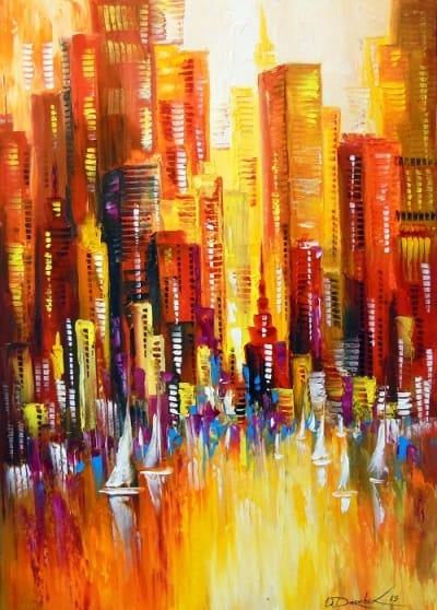 Абстрактная картина городской пейзаж «Солнечный Лос Анджелес» купить живопись для современных интерьеров Украина