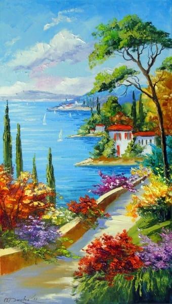 Картина маслом морской пейзаж «Солнечный день у моря» купить живопись для современных интерьеров Украина