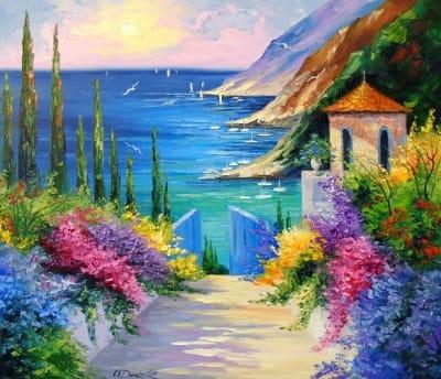 Картина маслом пейзаж «Солнечная дорога к морю» купить живопись для современных интерьеров Украина