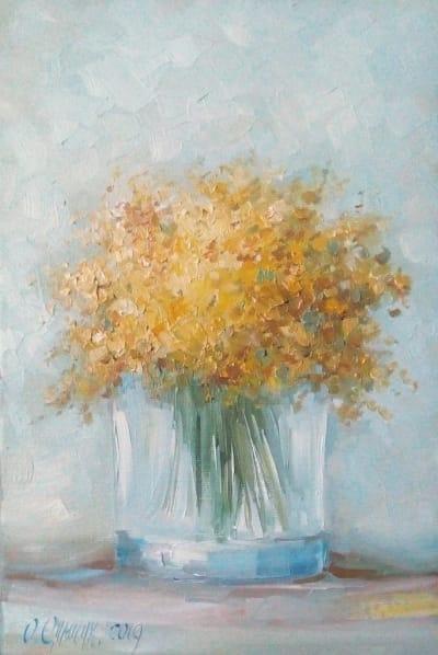 Картина цветы «Солнечный букетик» купить живопись для современных интерьеров Украина